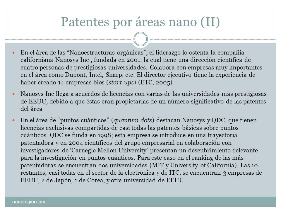 Patentes por áreas nano (II)