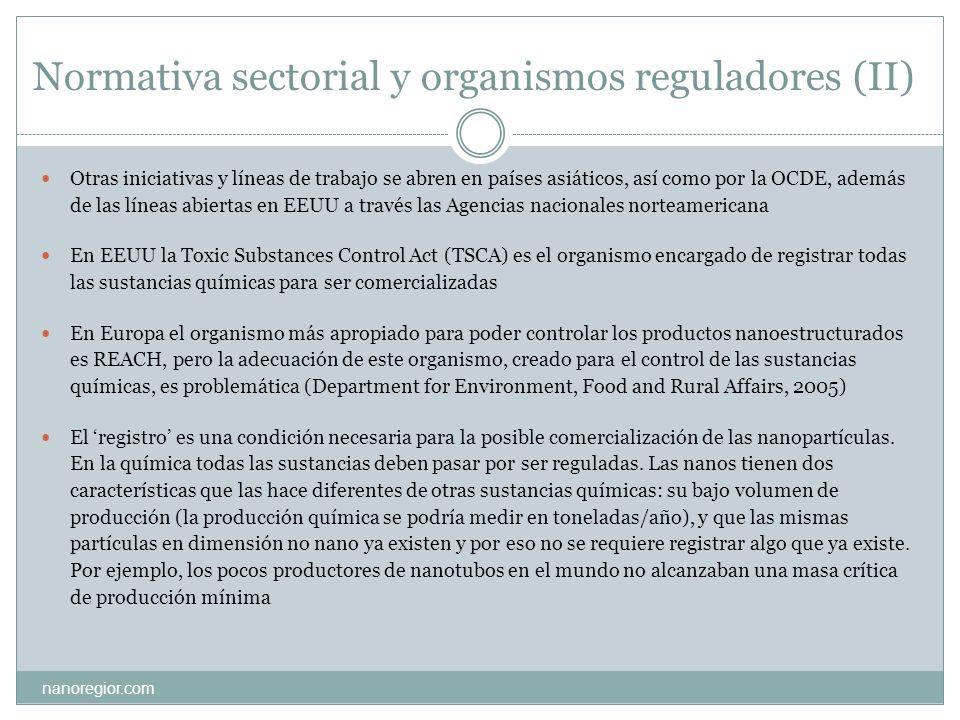 Normativa sectorial y organismos reguladores (II)