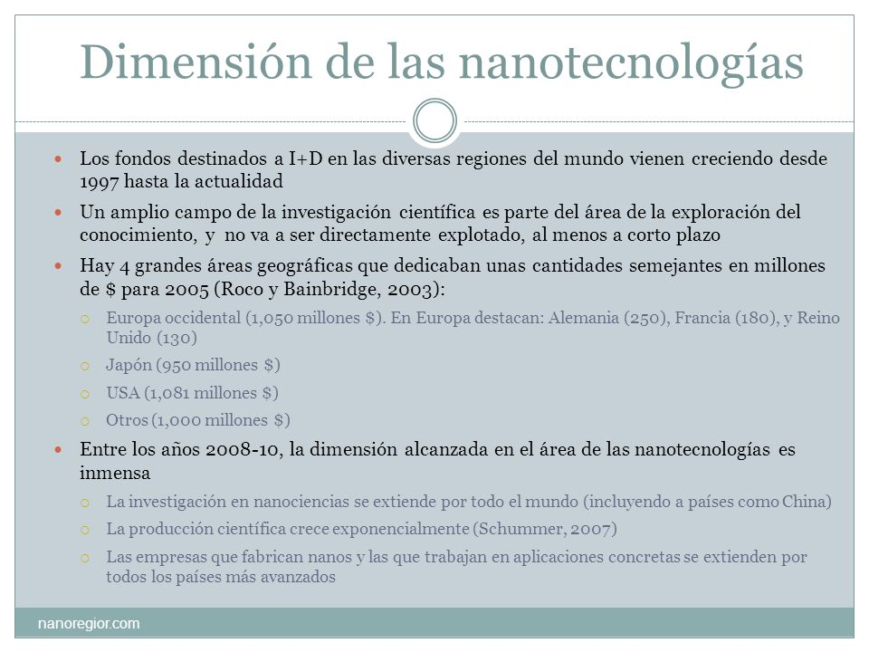 Dimensión de las nanotecnologías