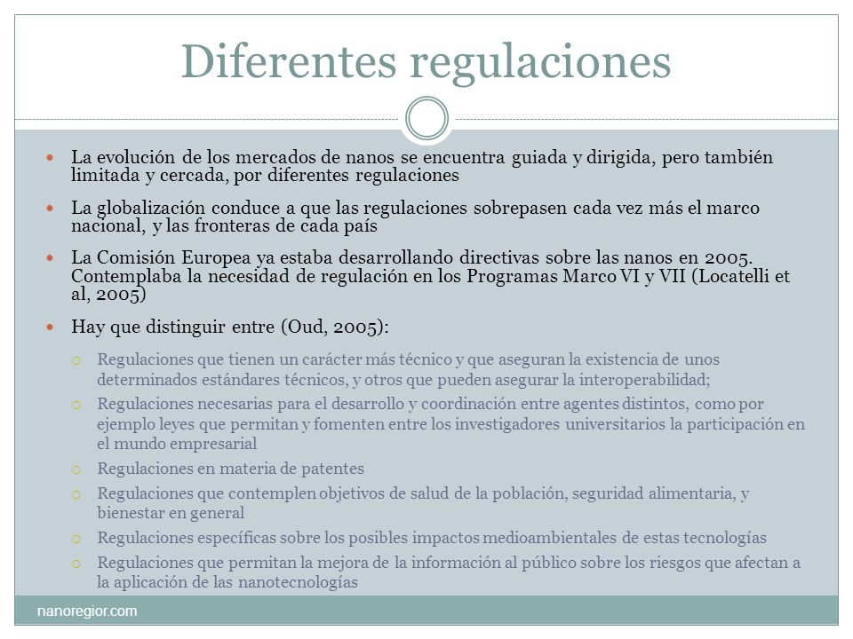 Diferentes regulaciones