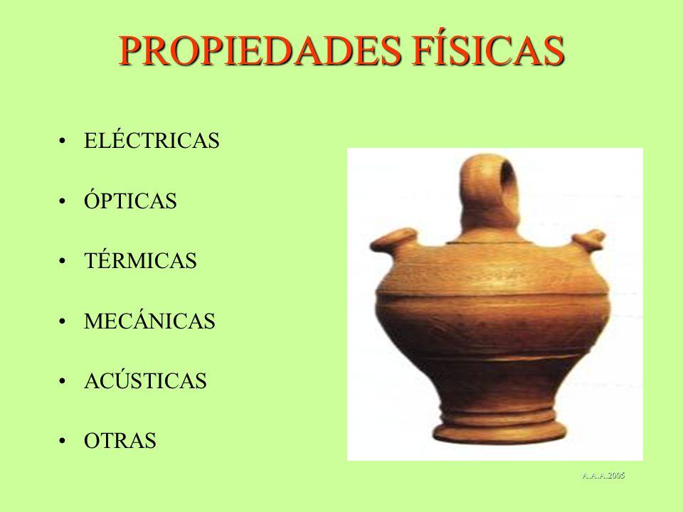PROPIEDADES FÍSICAS ELÉCTRICAS ÓPTICAS TÉRMICAS MECÁNICAS ACÚSTICAS