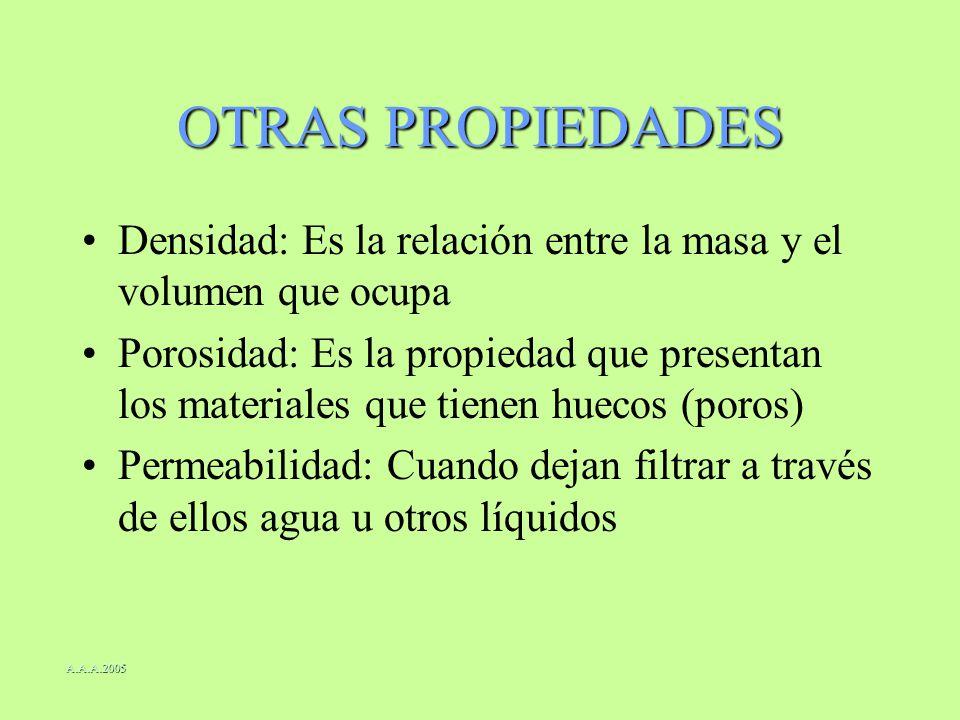 OTRAS PROPIEDADES Densidad: Es la relación entre la masa y el volumen que ocupa.