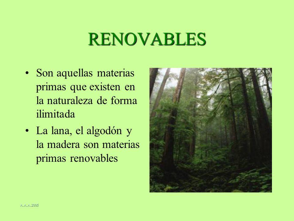RENOVABLES Son aquellas materias primas que existen en la naturaleza de forma ilimitada.