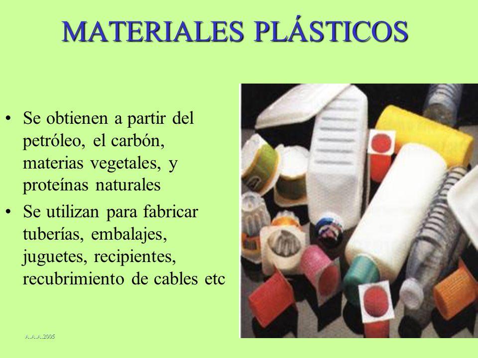 MATERIALES PLÁSTICOS Se obtienen a partir del petróleo, el carbón, materias vegetales, y proteínas naturales.