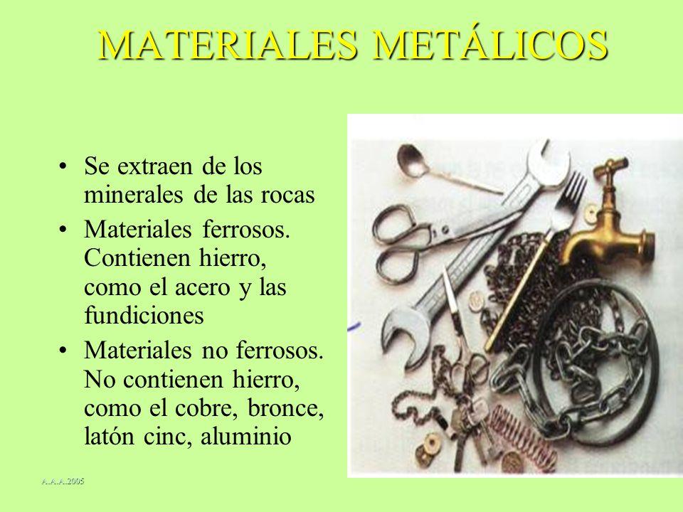 MATERIALES METÁLICOS Se extraen de los minerales de las rocas