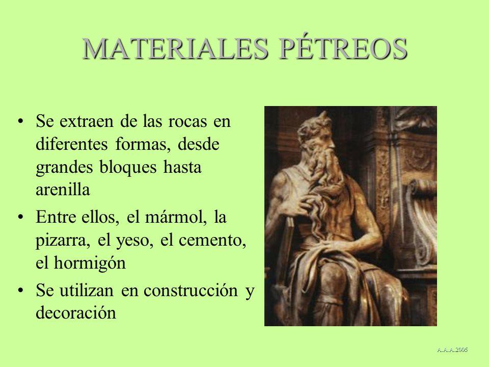 MATERIALES PÉTREOS Se extraen de las rocas en diferentes formas, desde grandes bloques hasta arenilla.