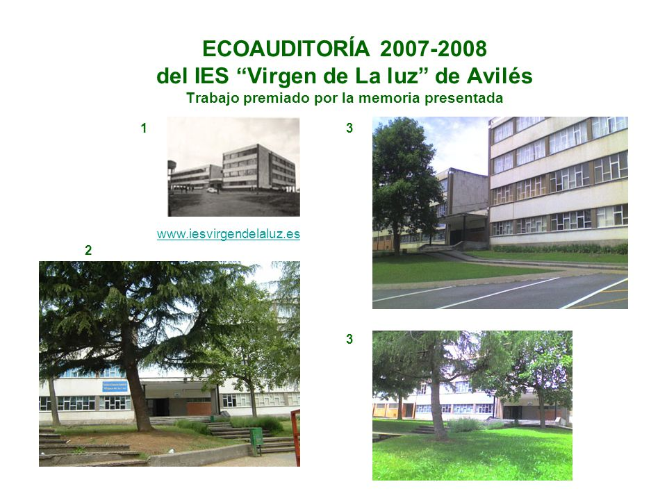 ECOAUDITORÍA 2007-2008 del IES Virgen de La luz de Avilés Trabajo premiado por la memoria presentada