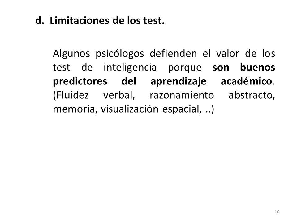 d. Limitaciones de los test