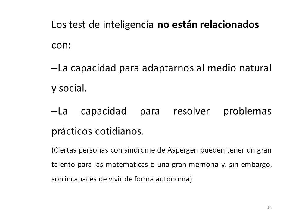 Los test de inteligencia no están relacionados con: