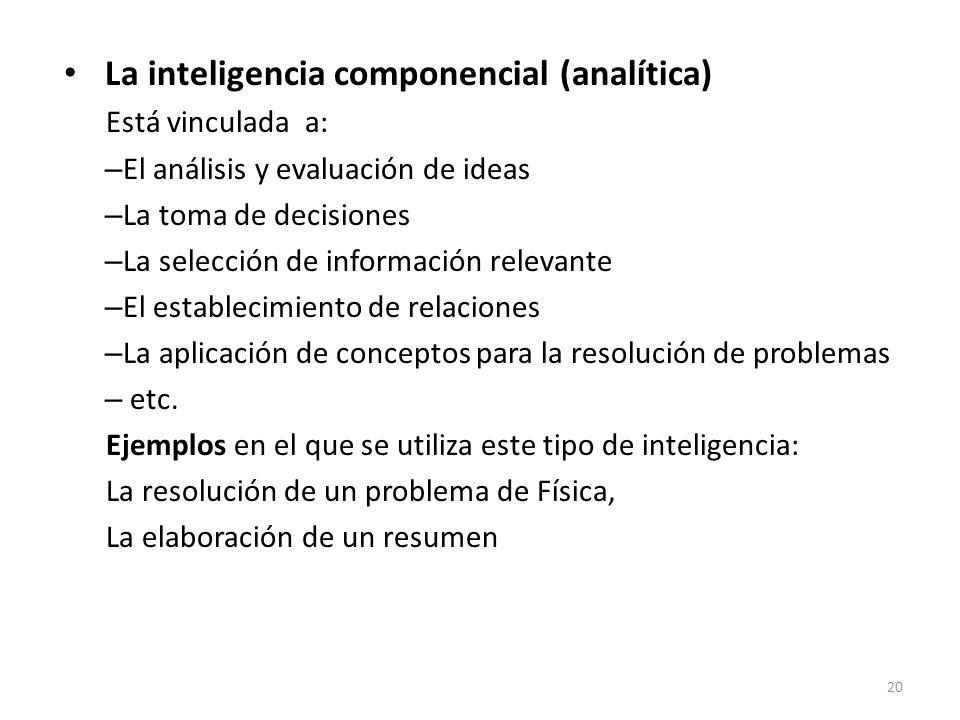 La inteligencia componencial (analítica)