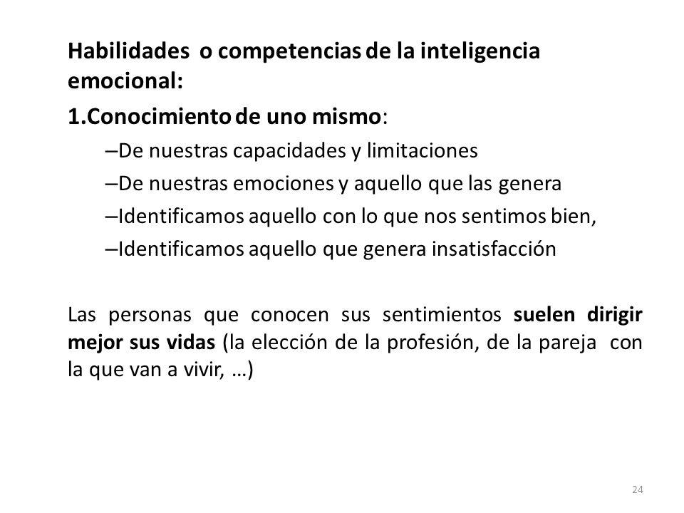 Habilidades o competencias de la inteligencia emocional:
