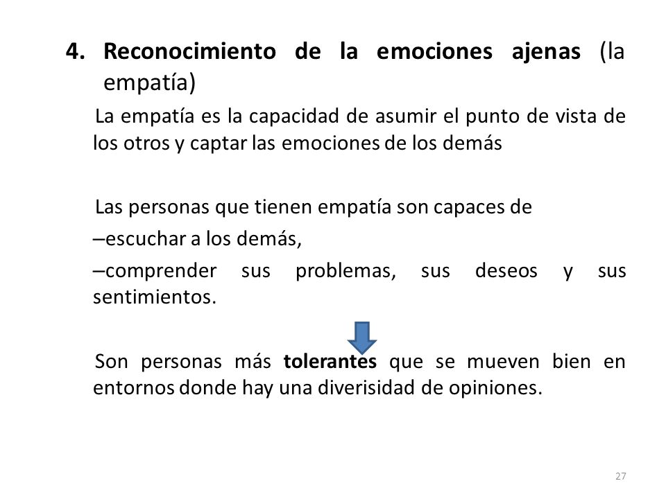 Reconocimiento de la emociones ajenas (la empatía)