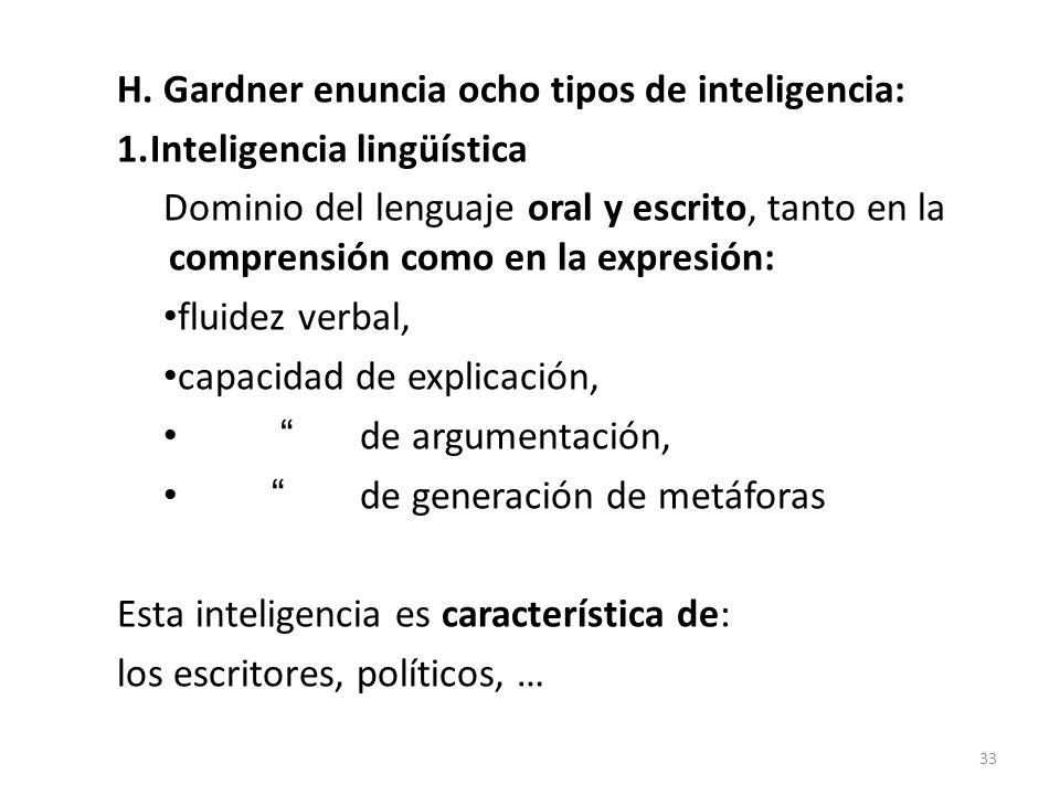 H. Gardner enuncia ocho tipos de inteligencia: