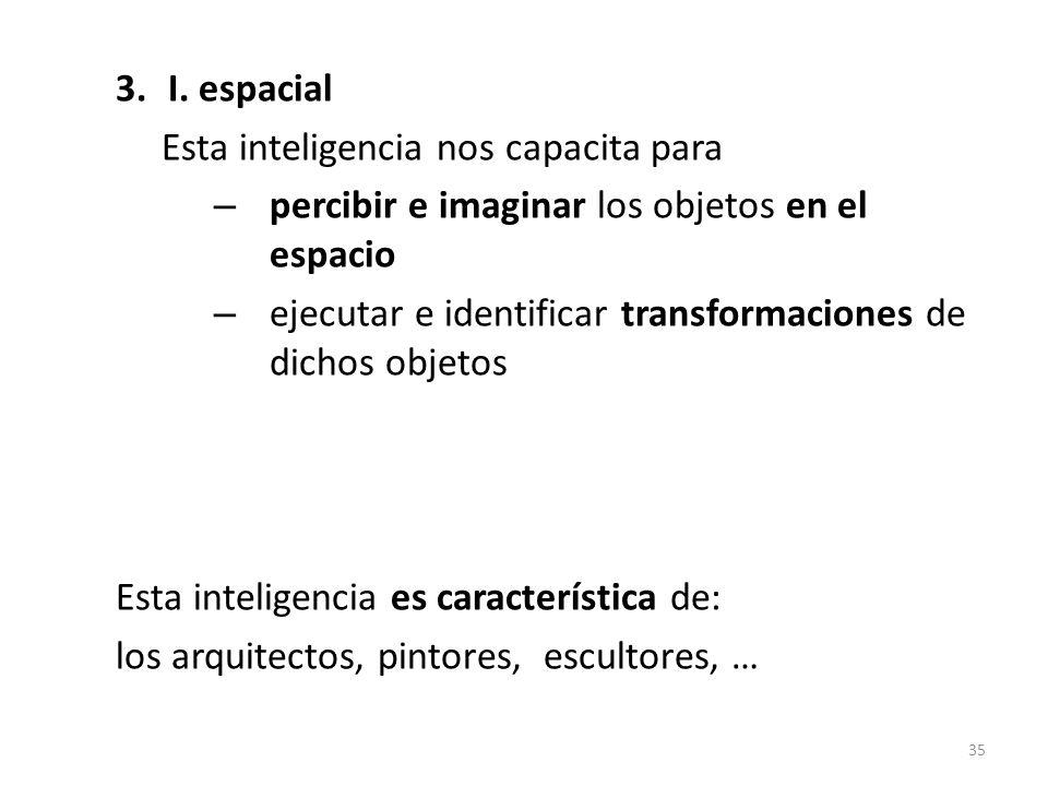 I. espacial Esta inteligencia nos capacita para. percibir e imaginar los objetos en el espacio.
