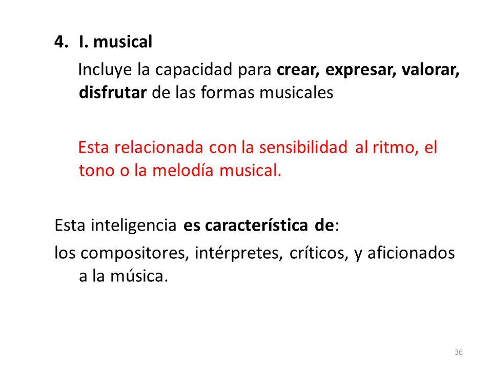 I. musical Incluye la capacidad para crear, expresar, valorar, disfrutar de las formas musicales.