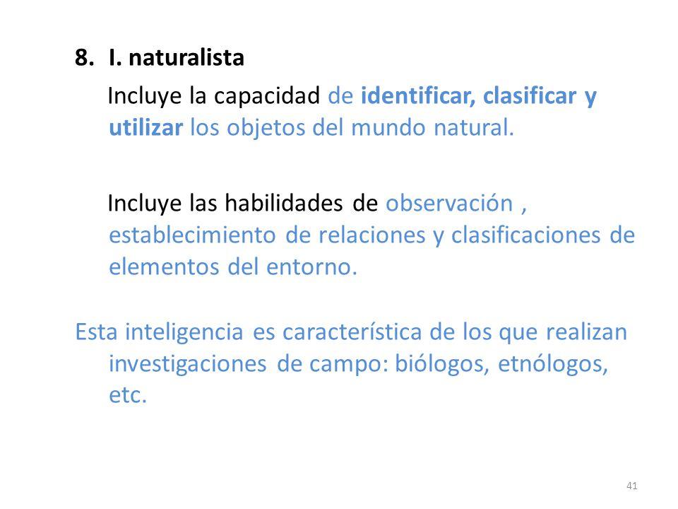 I. naturalista Incluye la capacidad de identificar, clasificar y utilizar los objetos del mundo natural.