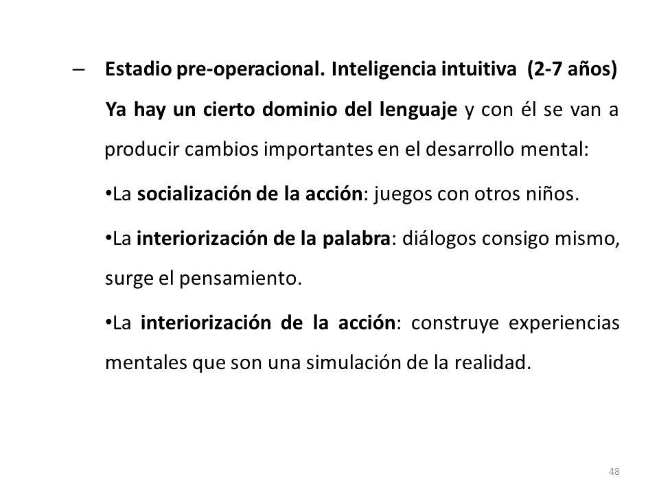 Estadio pre-operacional. Inteligencia intuitiva (2-7 años)