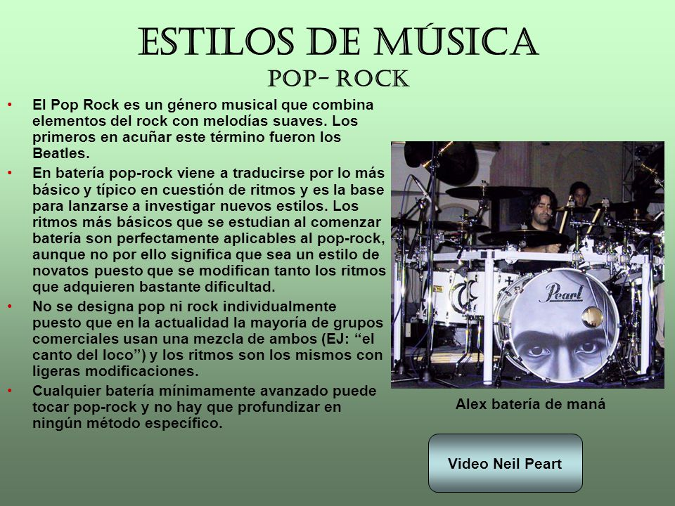 ESTILOS DE MÚSICA POP- ROCK