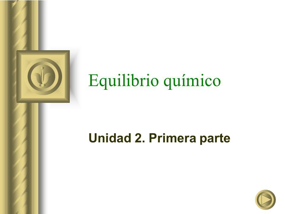 Equilibrio químico Unidad 2. Primera parte