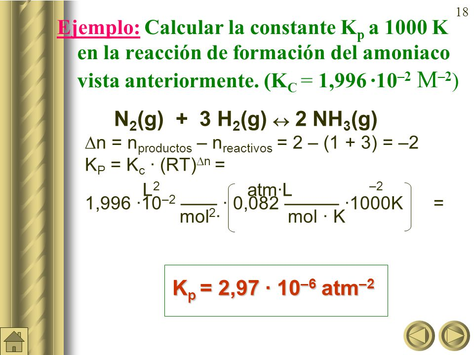 Ejemplo: Calcular la constante Kp a 1000 K en la reacción de formación del amoniaco vista anteriormente. (KC = 1,996 ·10–2 M–2)