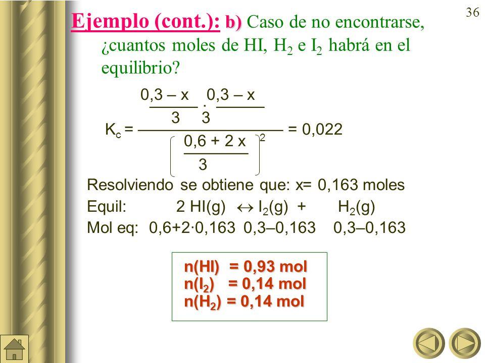 Ejemplo (cont.): b) Caso de no encontrarse, ¿cuantos moles de HI, H2 e I2 habrá en el equilibrio