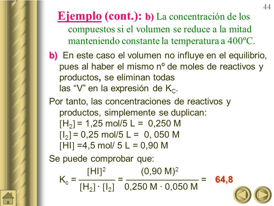 Ejemplo (cont.): b) La concentración de los compuestos si el volumen se reduce a la mitad manteniendo constante la temperatura a 400ºC.