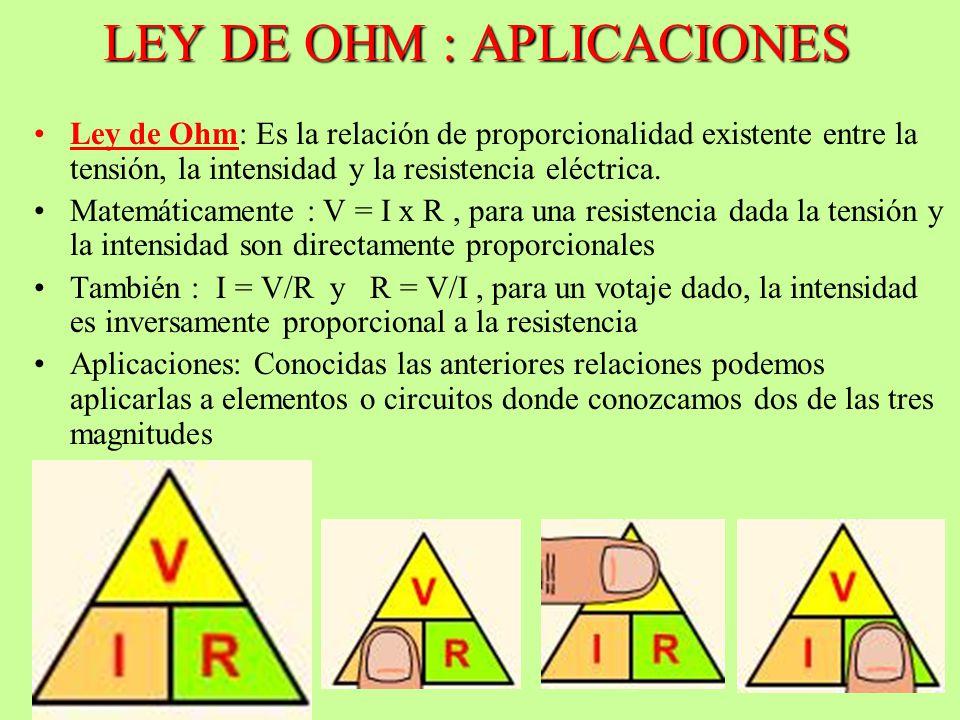 LEY DE OHM : APLICACIONES