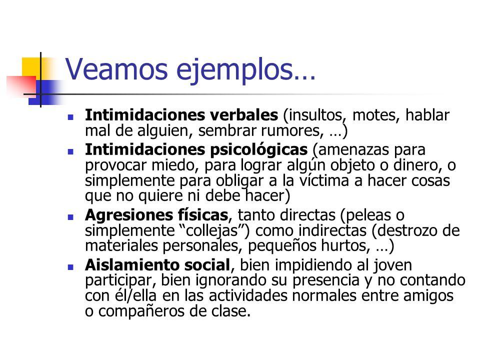 Veamos ejemplos… Intimidaciones verbales (insultos, motes, hablar mal de alguien, sembrar rumores, …)