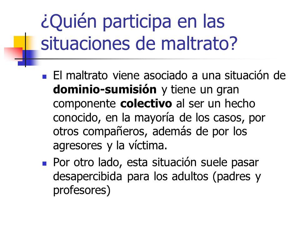 ¿Quién participa en las situaciones de maltrato
