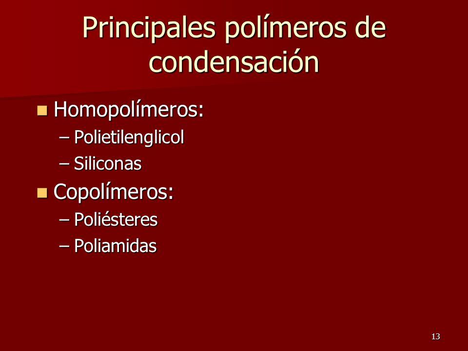 Principales polímeros de condensación