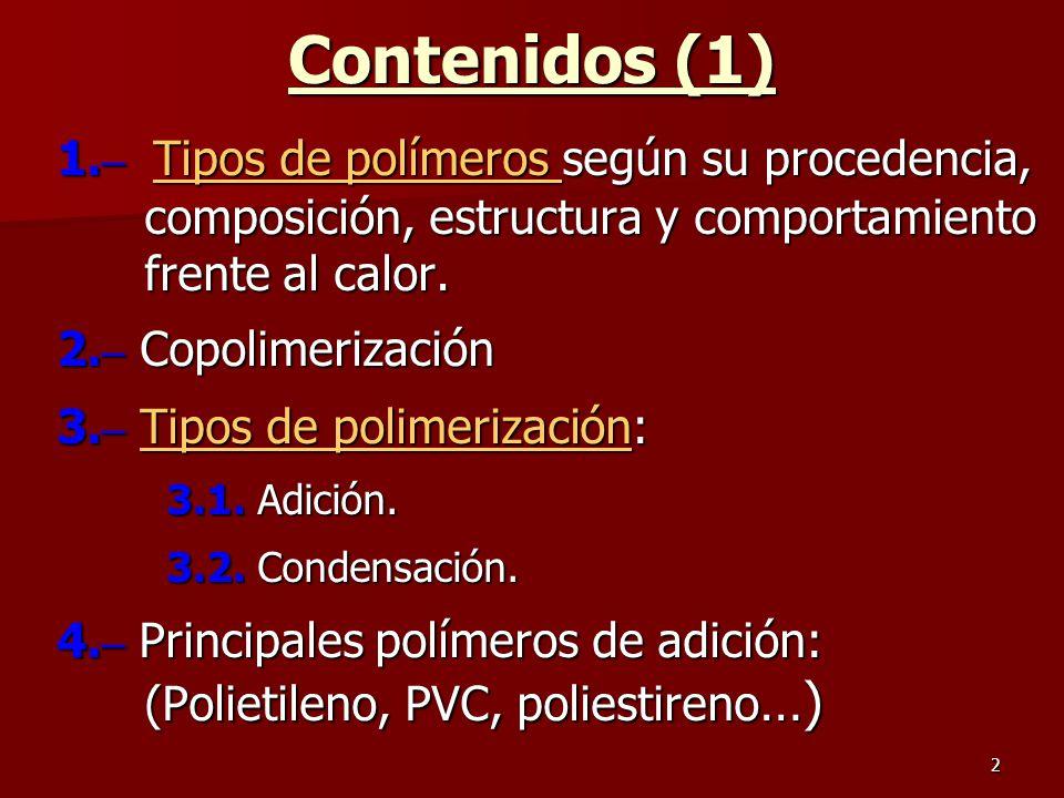 Contenidos (1) 1.– Tipos de polímeros según su procedencia, composición, estructura y comportamiento frente al calor.