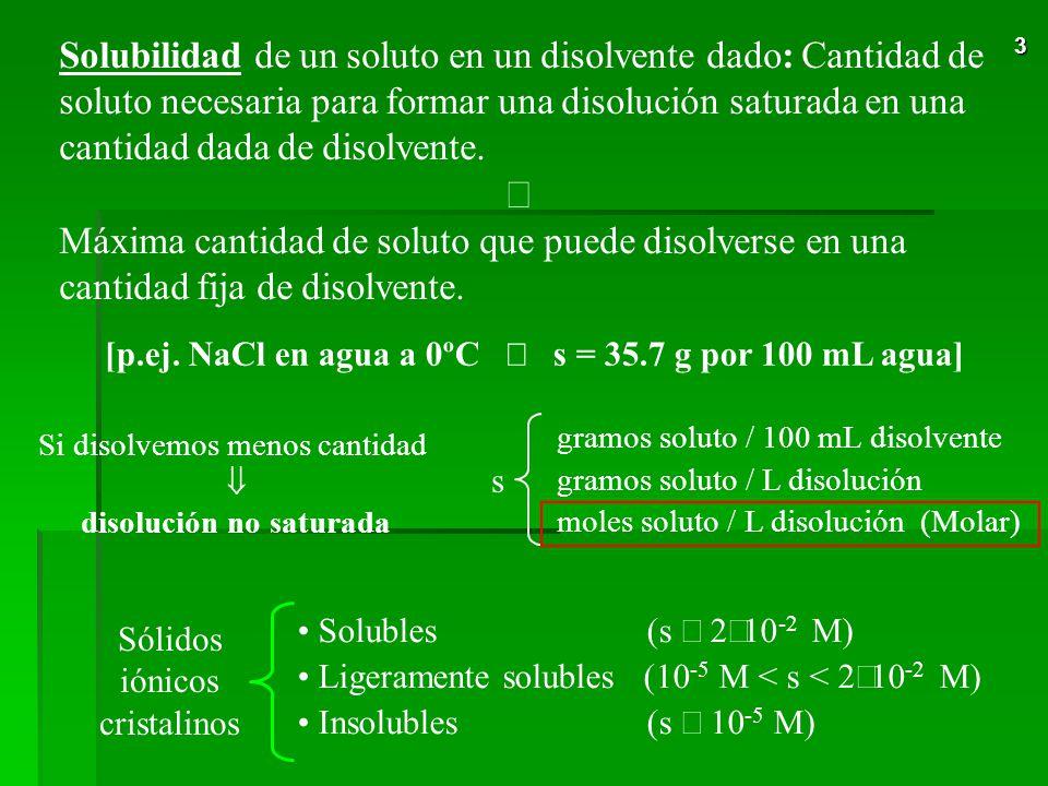 Solubilidad de un soluto en un disolvente dado: Cantidad de soluto necesaria para formar una disolución saturada en una cantidad dada de disolvente.