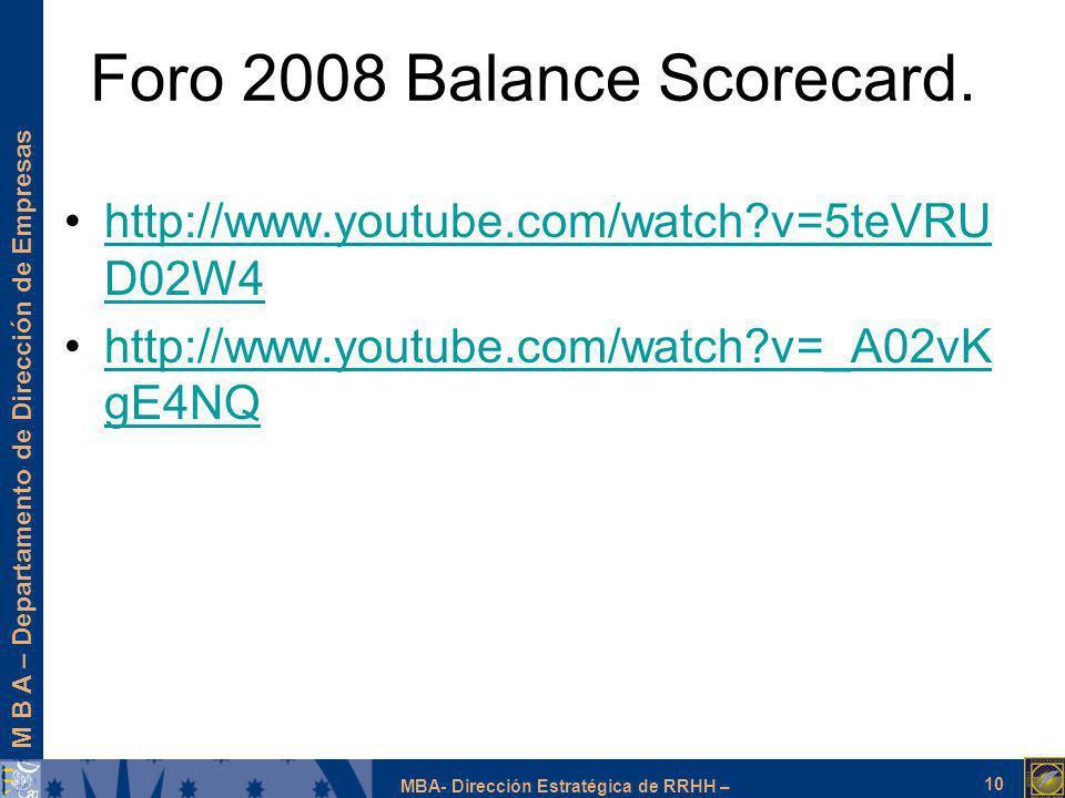 Foro 2008 Balance Scorecard.