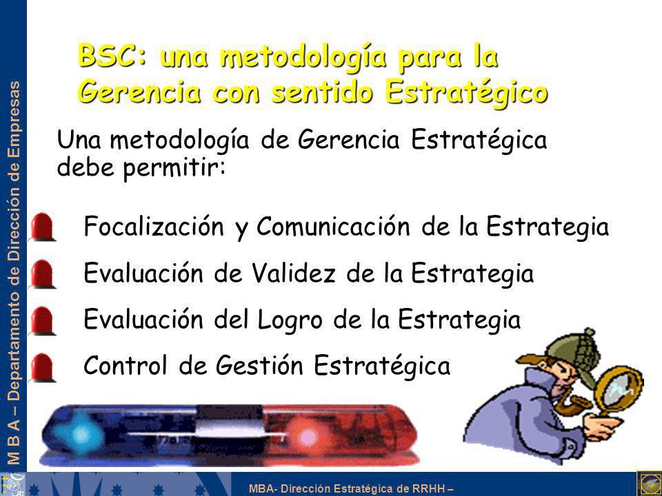 BSC: una metodología para la Gerencia con sentido Estratégico