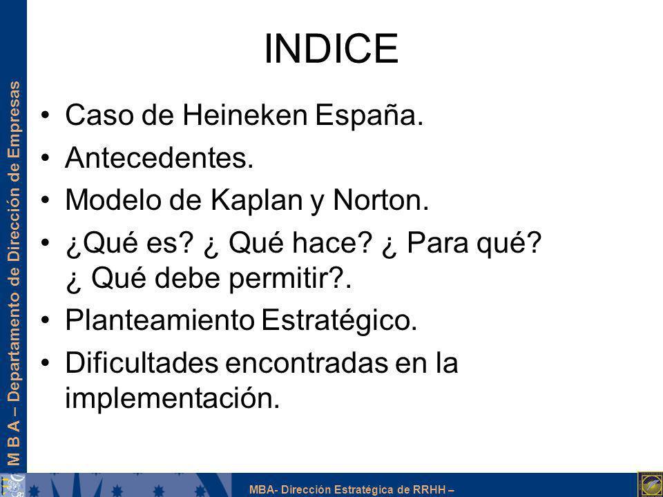 INDICE Caso de Heineken España. Antecedentes.