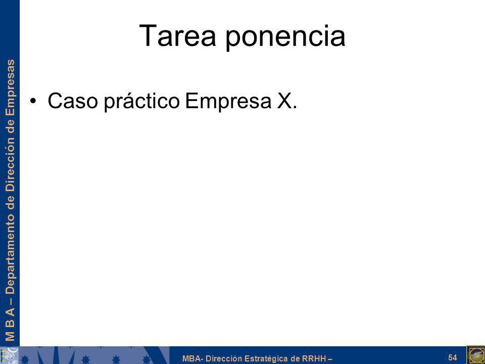 Tarea ponencia Caso práctico Empresa X.