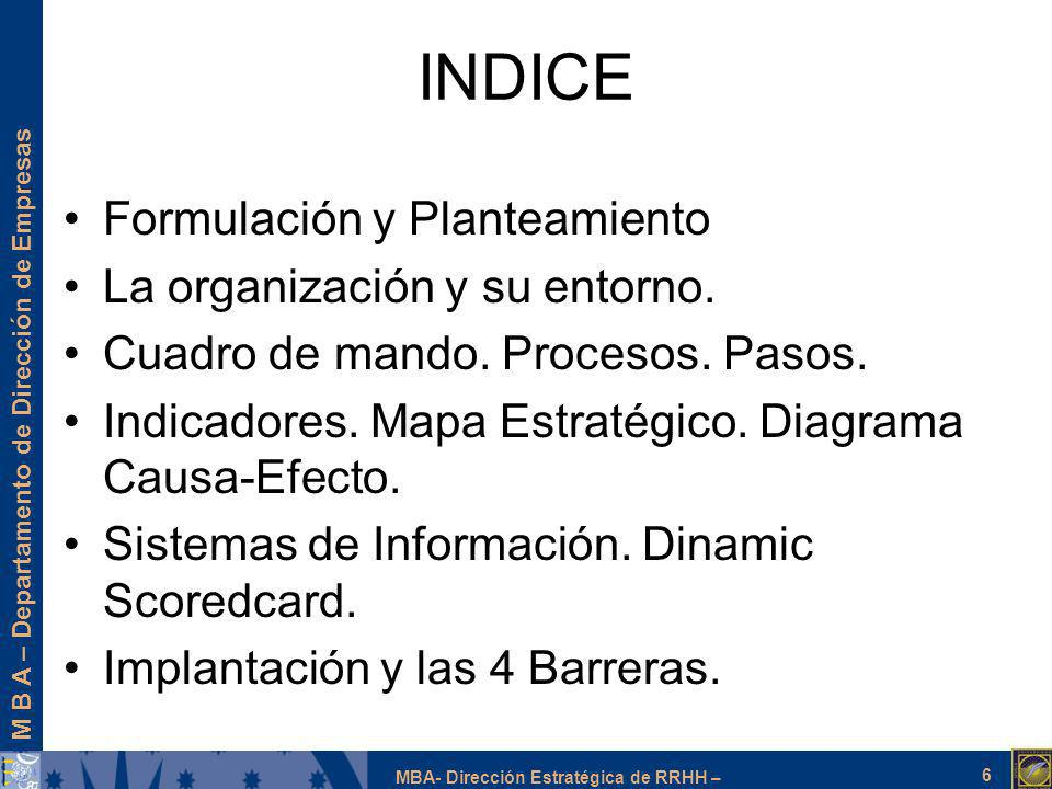 INDICE Formulación y Planteamiento La organización y su entorno.
