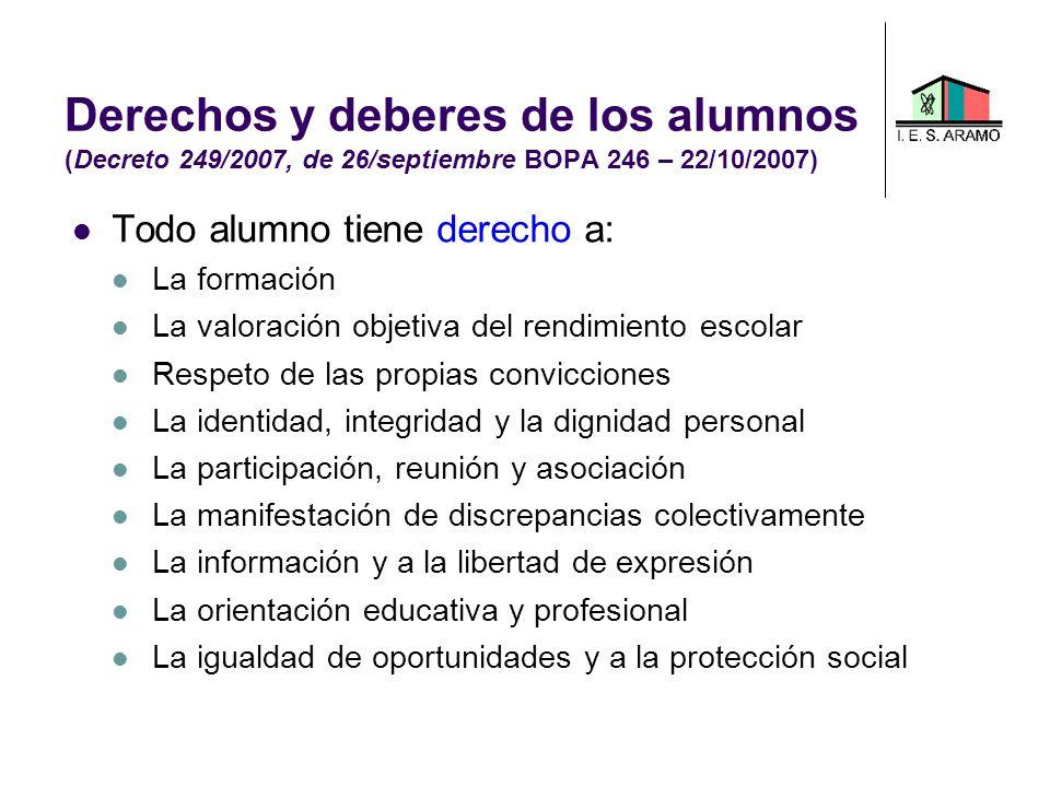 Derechos y deberes de los alumnos (Decreto 249/2007, de 26/septiembre BOPA 246 – 22/10/2007)