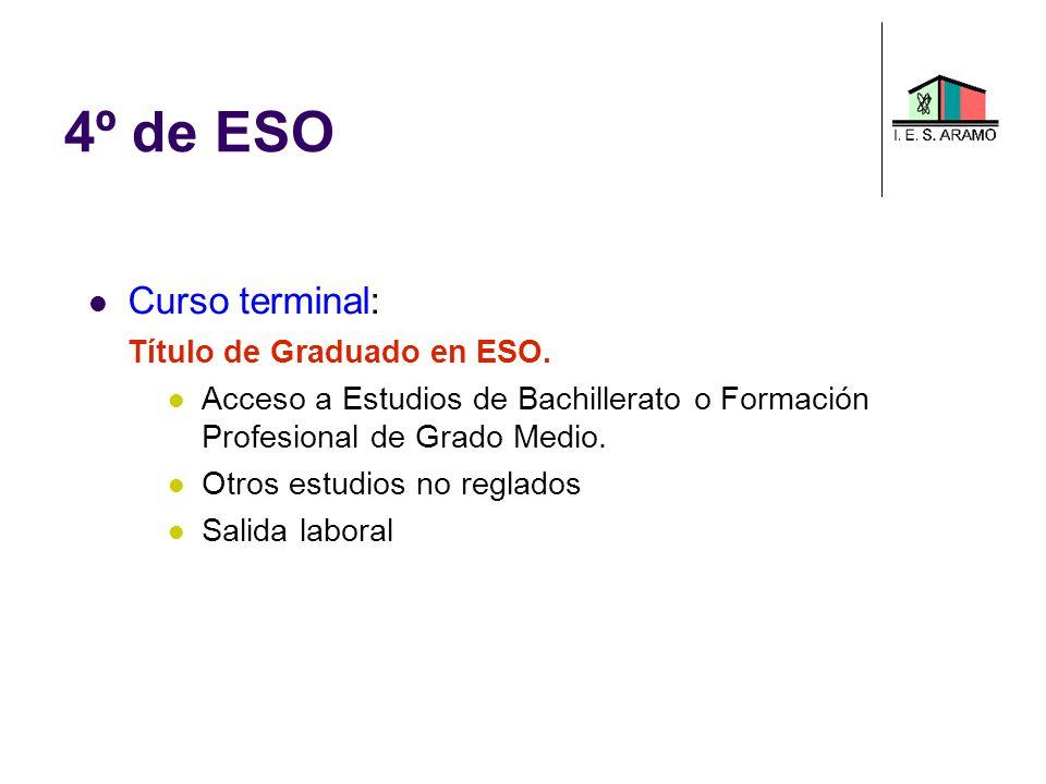 4º de ESO Curso terminal: Título de Graduado en ESO.