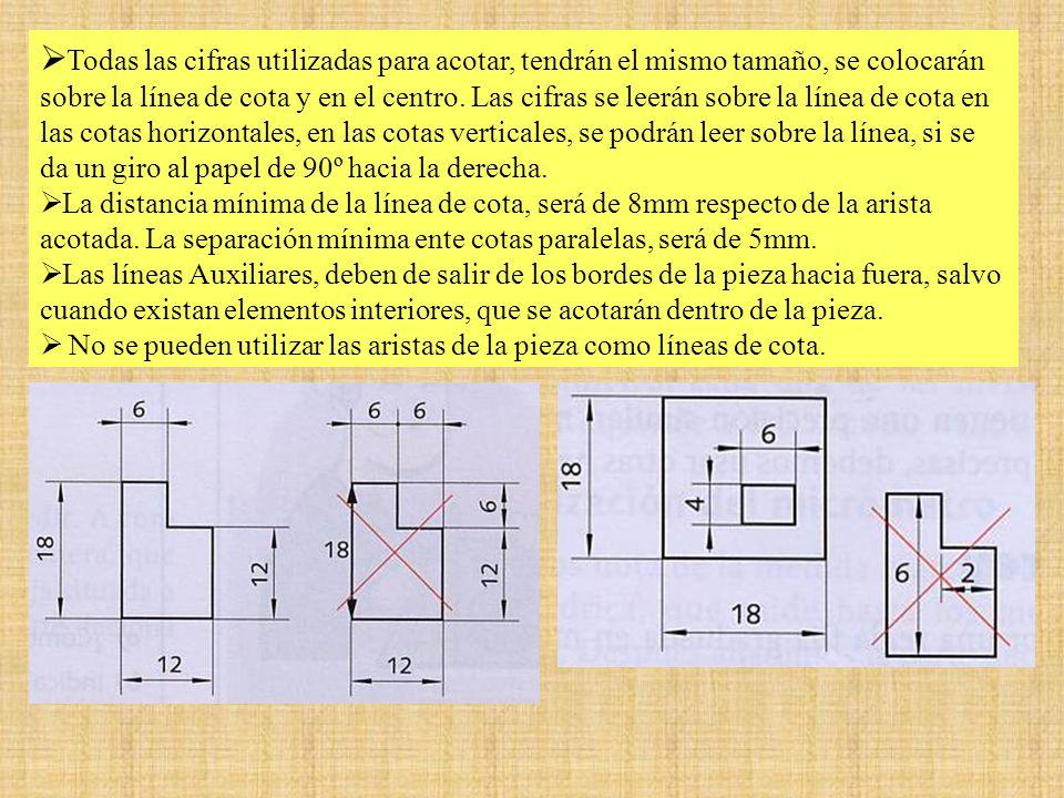 Todas las cifras utilizadas para acotar, tendrán el mismo tamaño, se colocarán sobre la línea de cota y en el centro. Las cifras se leerán sobre la línea de cota en las cotas horizontales, en las cotas verticales, se podrán leer sobre la línea, si se da un giro al papel de 90º hacia la derecha.
