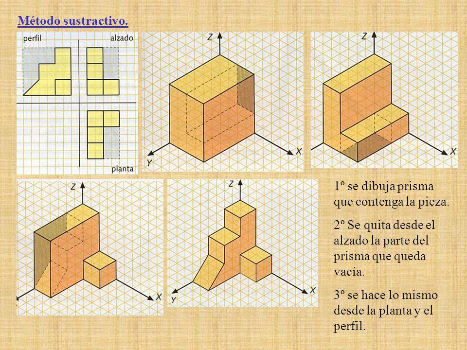 Método sustractivo. 1º se dibuja prisma que contenga la pieza. 2º Se quita desde el alzado la parte del prisma que queda vacía.
