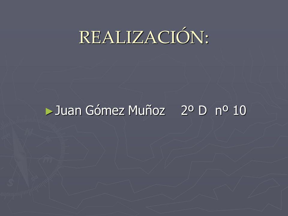 REALIZACIÓN: Juan Gómez Muñoz 2º D nº 10