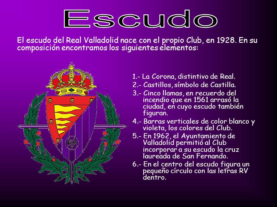 Escudo El escudo del Real Valladolid nace con el propio Club, en 1928. En su composición encontramos los siguientes elementos: