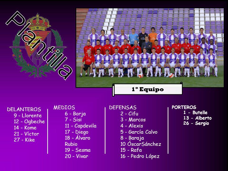 Plantilla 1º Equipo MEDIOS 6 - Borja 7 - Sisi 11 - Capdevila