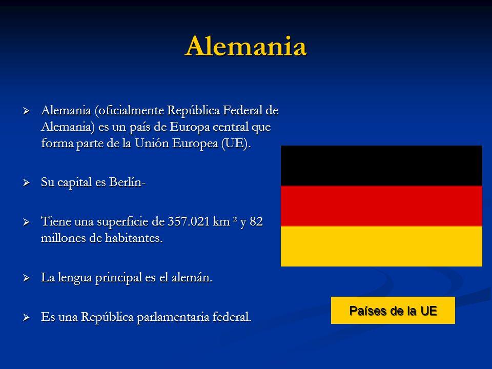 Alemania Alemania (oficialmente República Federal de Alemania) es un país de Europa central que forma parte de la Unión Europea (UE).