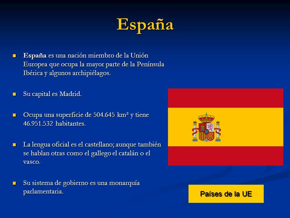 España España es una nación miembro de la Unión Europea que ocupa la mayor parte de la Península Ibérica y algunos archipiélagos.