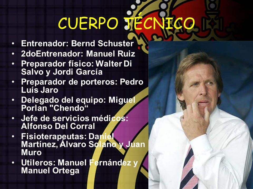 CUERPO TÉCNICO Entrenador: Bernd Schuster 2doEntrenador: Manuel Ruiz