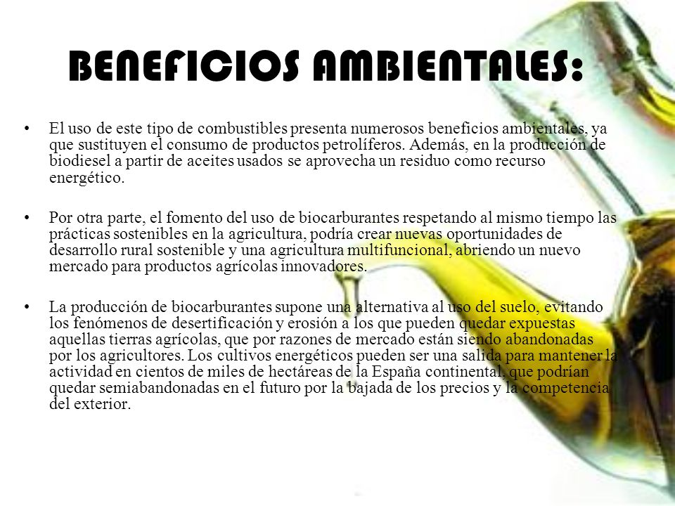 BENEFICIOS AMBIENTALES: