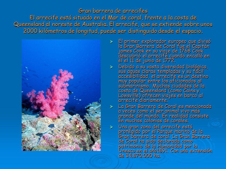 Gran barrera de arrecifes El arrecife está situado en el Mar de coral, frente a la costa de Queensland al noreste de Australia. El arrecife, que se extiende sobre unos 2000 kilómetros de longitud, puede ser distinguido desde el espacio.
