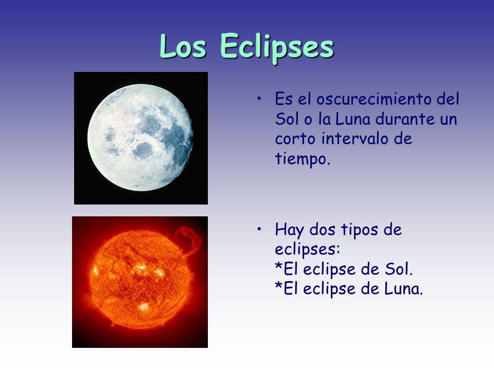 Los Eclipses Es el oscurecimiento del Sol o la Luna durante un corto intervalo de tiempo.